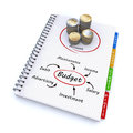 Spiral notebook with the word budget Royalty Free Stock Photo