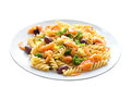Spiral pasta with smoke salmon and broccoli Stock Images