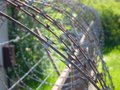 Spiral of sharp rusty barbed wire Royalty Free Stock Photo