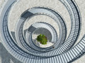 Spiral staircase with tree in a center Stock Image