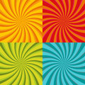 Spiral starburst, sunburst background set. Lines, stripes with twirl, rotating distortion effect. Red, yellow, green and Royalty Free Stock Photo