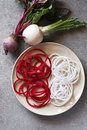 Spiral turnip and beetroot spaghetti imitation noodles on a plate Royalty Free Stock Photo