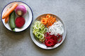 Spiral zucchini,carrot,turnip and beetroot spaghetti imitation noodles on a plate Royalty Free Stock Photo
