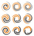 Spirals and swirls set of spiral logo design elements icons symbols signs Royalty Free Stock Photos