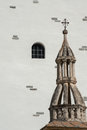Spire of the catholic church of saas ground interesting a is swiss alpine village in valley Stock Photos