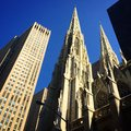 Spires manhattan s competing on a sunny day Royalty Free Stock Photos