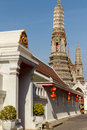 Spires on temple of dawn two the elaborate wat arun a world famous buddhist and monastery the west bank the chao Royalty Free Stock Photography