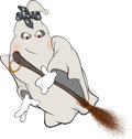 Spirit and broom cartoon with a with a scarf Royalty Free Stock Photo