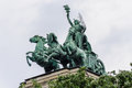 Spirit of enlightenment budapest the sculptural composition on top the ethnographic museum in Stock Photos
