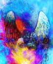 Spiritual Angel in cosmic space. Painting and graphic effect.