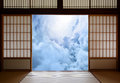 Spiritual awakening and new age enlightenment concept with a japanese buddhism theme of open sliding doors peaceful sight of Stock Images