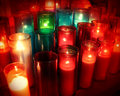 Spiritual candles as a candlelight memorial in a religious ceremony as a commemorative tradition in religion to celebrate the life Stock Photos