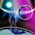 Spiritual Cross Man Faith World  Royalty Free Stock Image