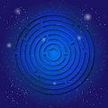 Spiritual sacred symbol of labyrinth on the deep blue cosmic sky. Sacral geometry in universe.