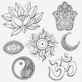 Spiritual symbols icon doodle set Stock Image