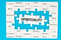 Spirituality concept words on group of jigsaw puzzle pieces Royalty Free Stock Photography