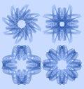 Spirograph circle lace patterns, design elements in blueoutline design, gorgeous symmetric geometric shapes