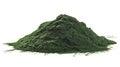 Spirulina algae powder stack of isolated on white background Royalty Free Stock Image