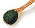 Spirulina algae powder wooden spoon of isolated on white background Royalty Free Stock Photo
