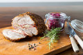 Spit roast with red cabbage and dumplings Royalty Free Stock Images