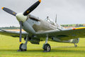 Spitfire fighter duxford uk july world war vintage british plane at duxford flying legends airshow Royalty Free Stock Images