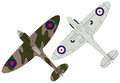 Spitfires two flat illustrations of wwii spitfire aircraft Stock Photo