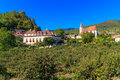 Spitz village church in famous wachau valley famouse austria Royalty Free Stock Photography