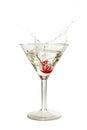 Splash of cherry in martini glass Royalty Free Stock Photo