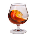 Splash of cognac in glass on white background see my other works portfolio Royalty Free Stock Photography