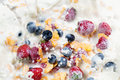 Splash corn flakes with fresh berries and pouring milk Royalty Free Stock Photo