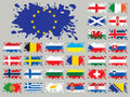 Splash flags set Europe two Stock Image