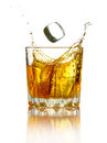 Splash in glass of whiskey and ice  Royalty Free Stock Photography