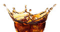 Splash from ice cubes in a glass of cola. Royalty Free Stock Photo