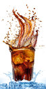 Splash from ice cubes in a glass of cola, isolated on the white background Royalty Free Stock Photo