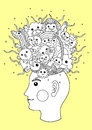 Splash imagination head, inspiration abstract thought, vector hand drawn