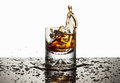 Splash the liquor ice cubes falling dark filled glass and splashing onto counter top with white background Stock Image