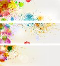 Splash three banners with paint vector easy to edit Stock Photo
