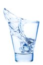 Splash of water in an elegant glass with ice isolated Royalty Free Stock Photo