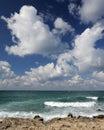 Splash of waves about coastal stones Royalty Free Stock Photo