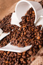 Splashed coffee beans from the white cup Stock Images