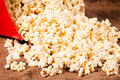 Splashed pop corn selective focus in the middle of corns Stock Image
