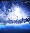 Splashing blue water use as nature background ,backdrop and natu Royalty Free Stock Photo
