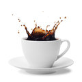 Splashing coffee cup of isolated on white Royalty Free Stock Photography