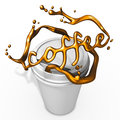 Splashing coffee with paper cup Stock Images