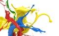 Splashing colors on white background Royalty Free Stock Photography