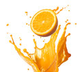Splashing orange juice with its fruit isolated on white Royalty Free Stock Photo