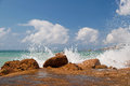 Splashing sea waves Royalty Free Stock Photo