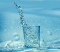 Splashing water from glas Royalty Free Stock Photo