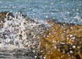 Splashing waves into water droplets on the rocks at the sea side Stock Images