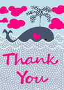 Splashing Whale Thank You Card Royalty Free Stock Images